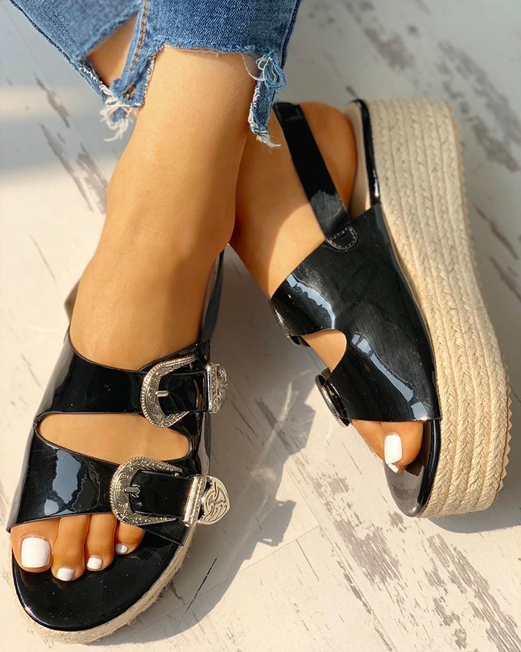 Buckled Detail Espadrille Platform Sandals, Black