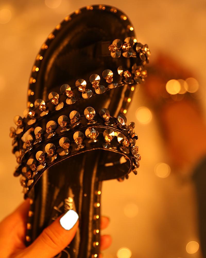boutiquefeel / Detalhe Studded Toe Ring Sandálias Flat