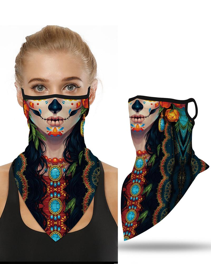 Skull Pattern Breathable Ear Loop Face Cover Bandana Windproof Motorcycling Dust Outdoors фото