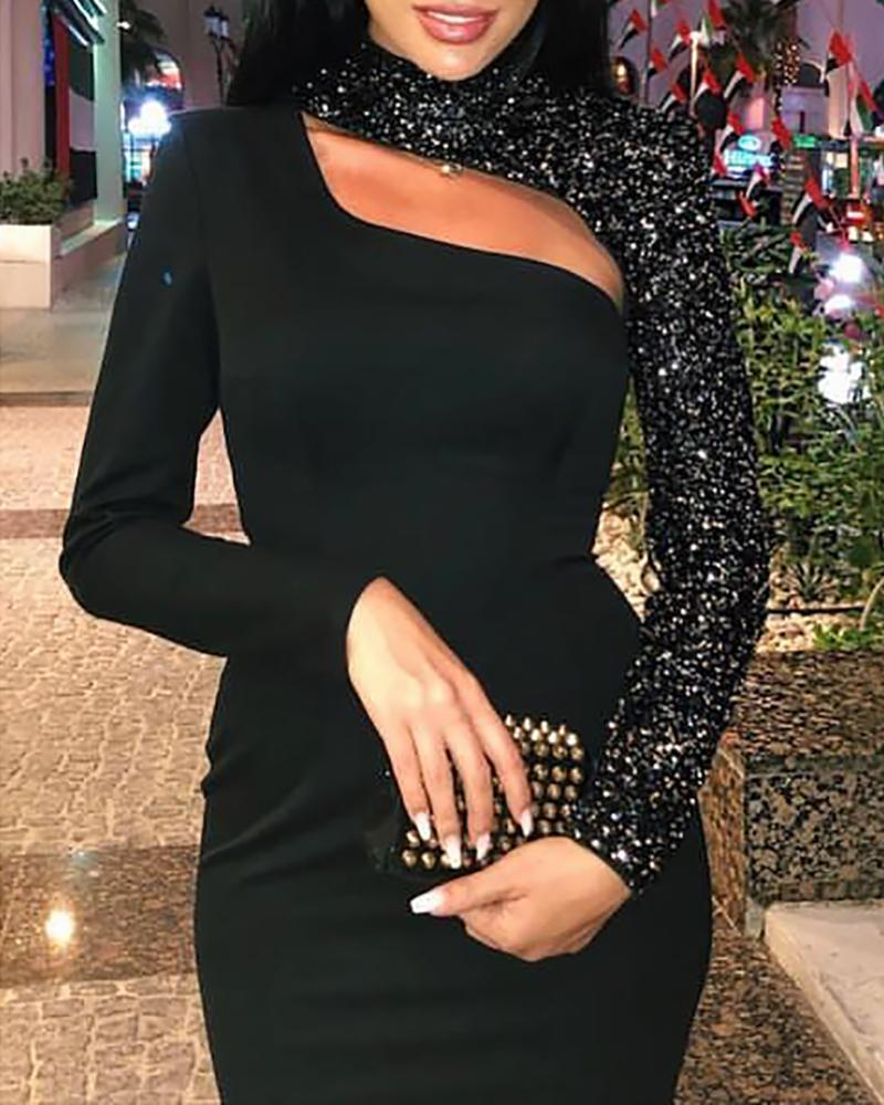 Cut Out Sequin Bodycon Dress фото