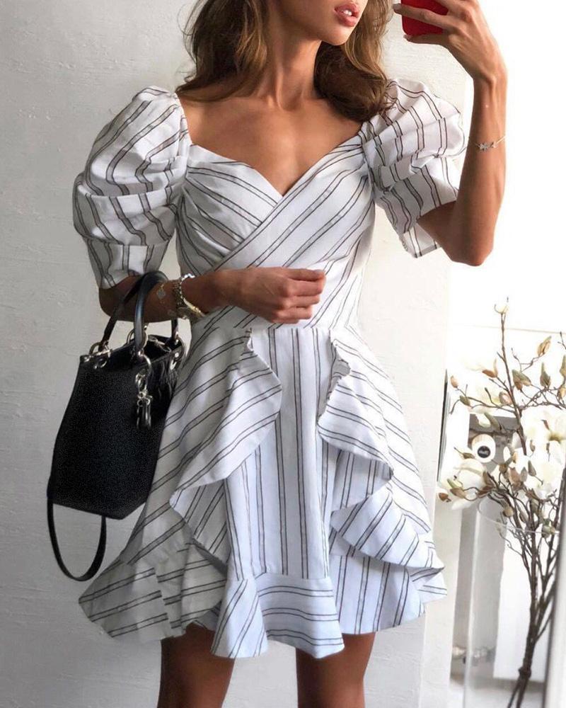 Striped Ruffles Puffed Sleeve Casual Dress фото