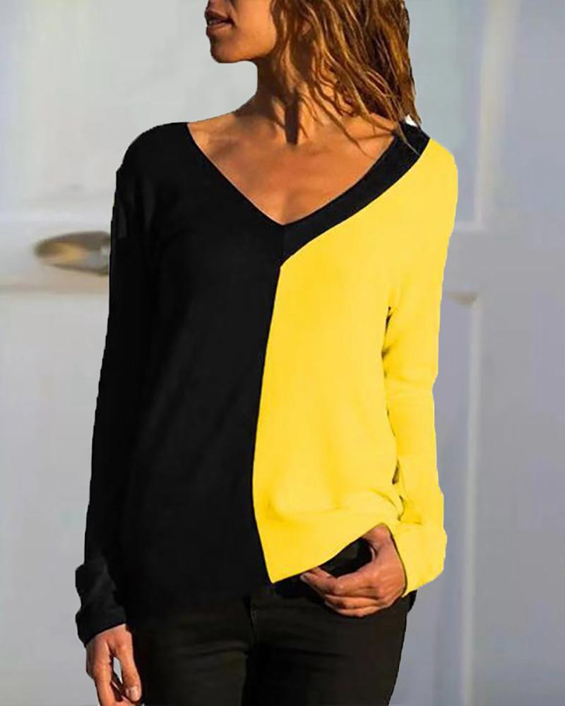 Colorblock Print Long Sleeve T-Shirt, Yellow