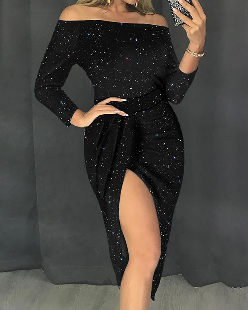 Glitter Slit Off Shoulder Party Dress фото