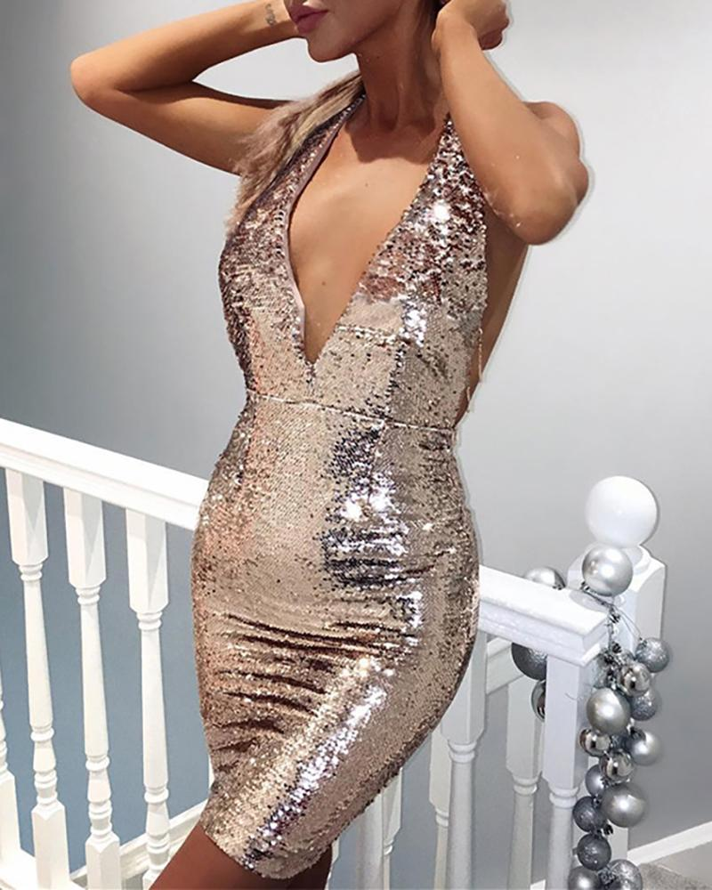 boutiquefeel / Sequins Backless Chain Design Bodycon Vestido