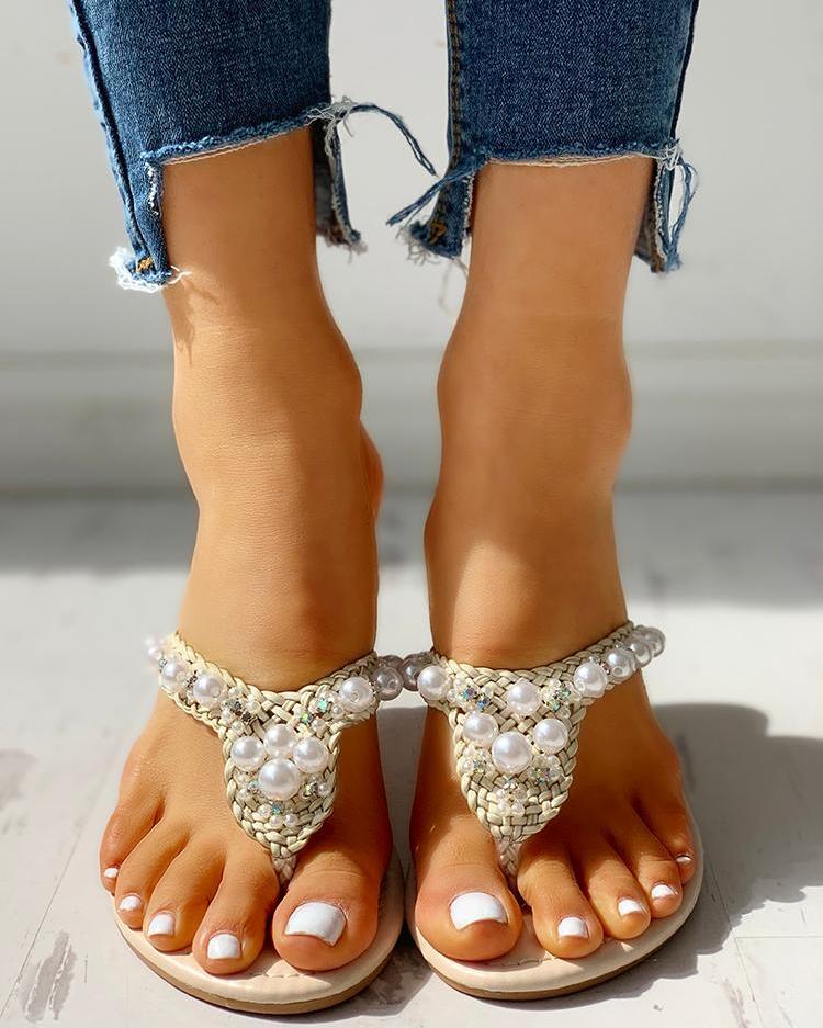 boutiquefeel / Sandalias planas casuales trenzadas diseño abalorios