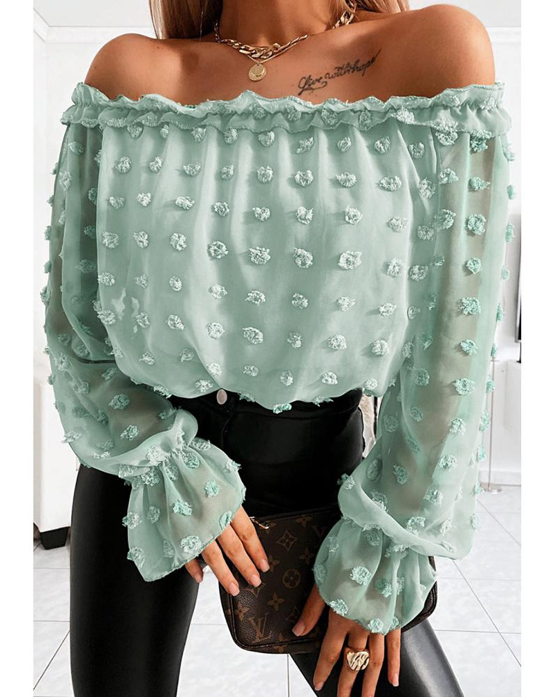 Off Shoulder Mesh Long Sleeve Blouse фото