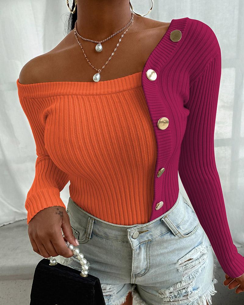 Button Design Colorblock Knit Sweater