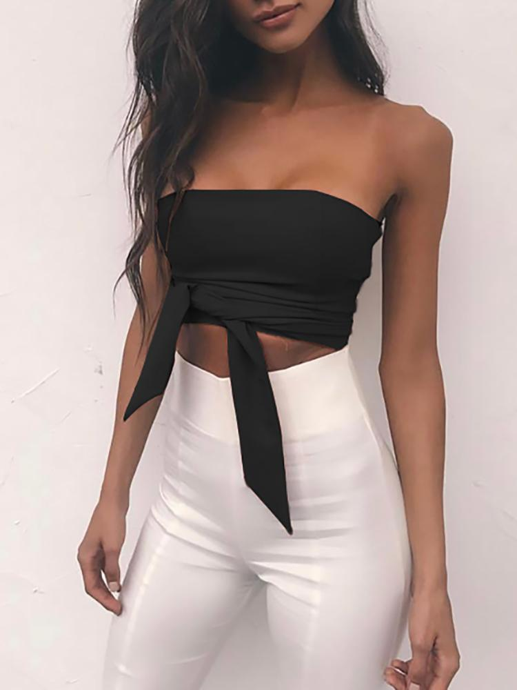 Bowknot Deaign Wrapped Chest Zipper Back Crop Top