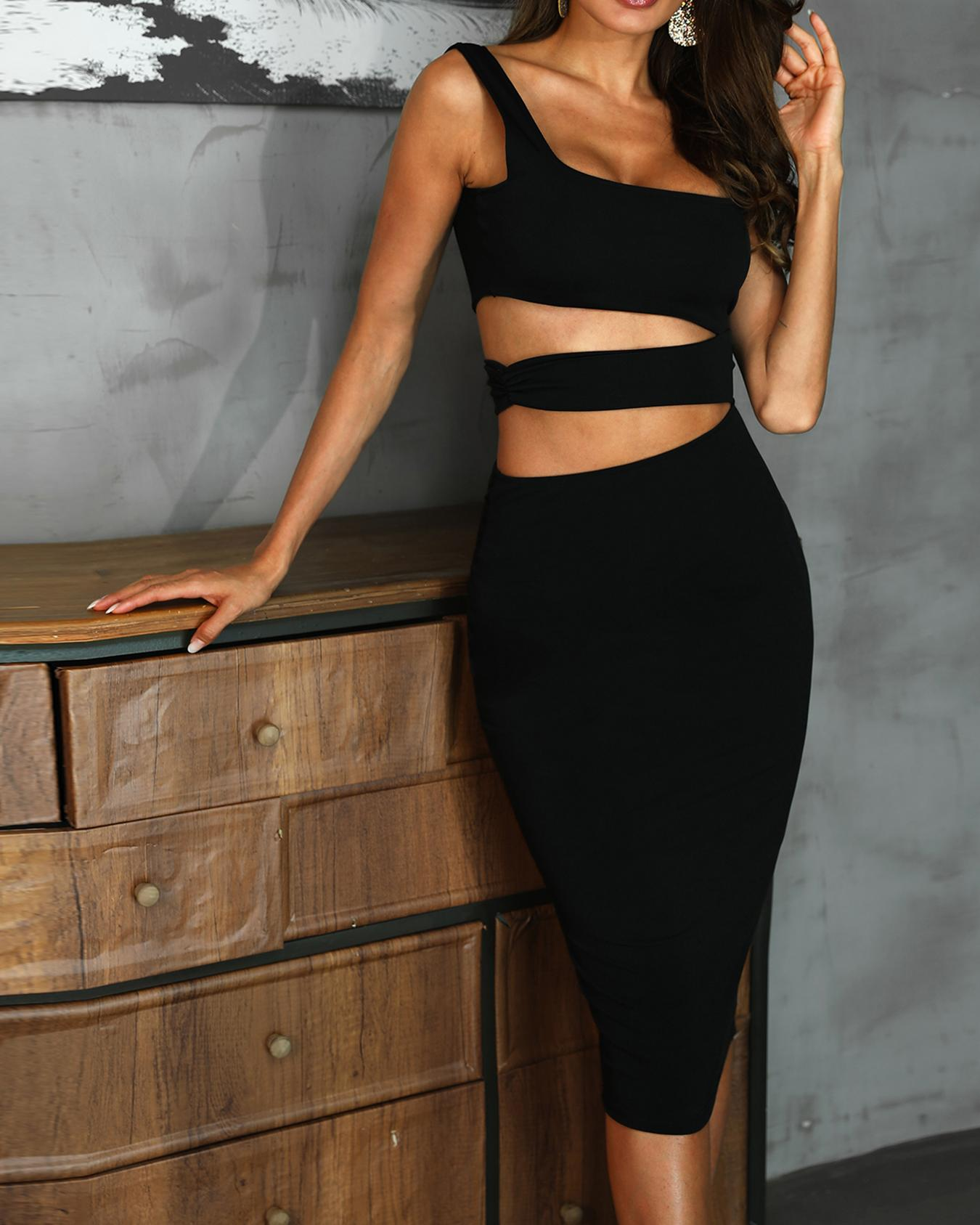 Squared Neck Cut Out Waist Skinny Dress фото