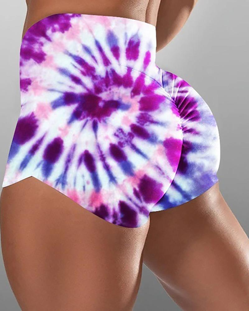 High Waist Tie Dye Print Ruched Sporty Shorts фото