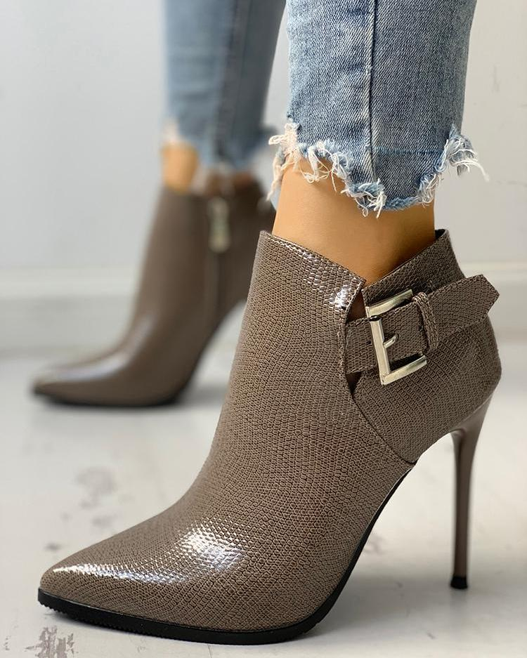 Snakeskin Point Toe Thin Heeled Ankle Boots