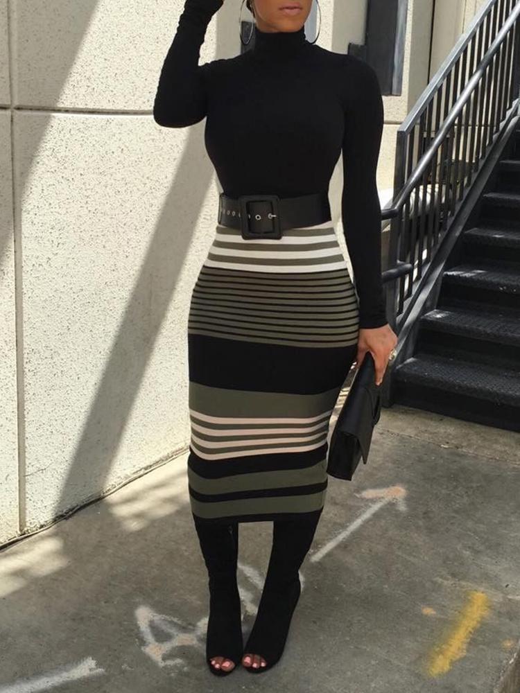 ivrose / Sexy Tight T-Top Stripe Print Skirt Set