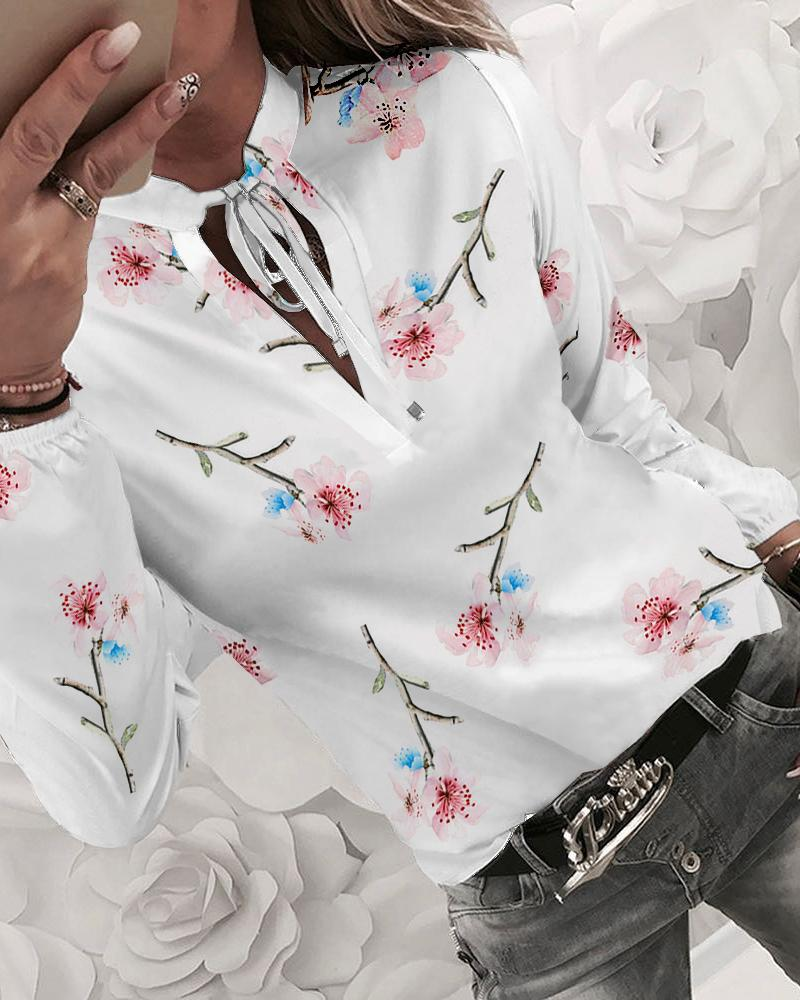 Floral Print Tied Detail Casual Blouse