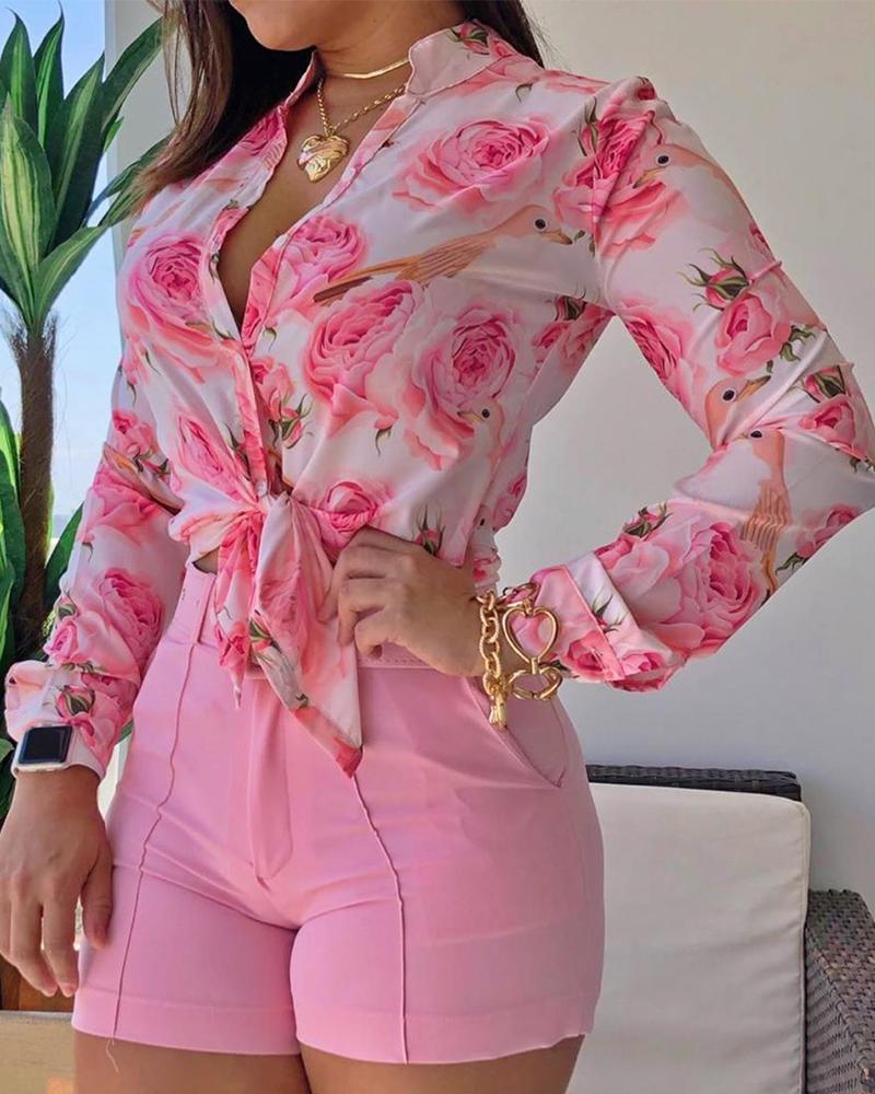 boutiquefeel / Blusa com estampa floral manga comprida com cordão e bainha solta