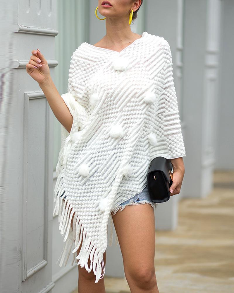 Tassel Design Pom Pom Cloak Sweater фото
