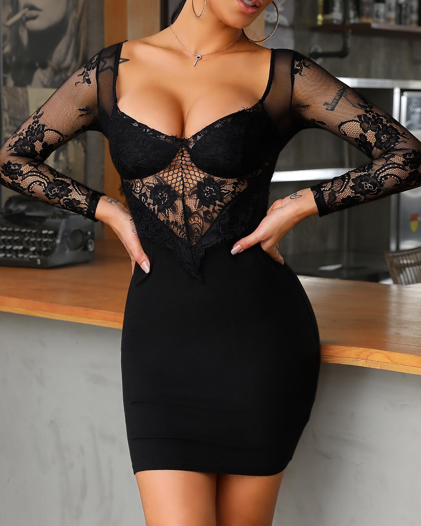 Sheer Eyelash Lace Bodice Bodycon Dress фото