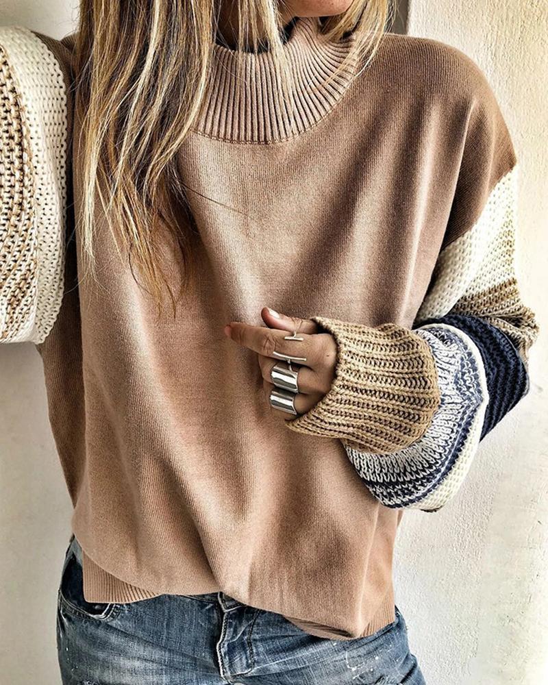 Colorblock Patchwork Design Casual Sweater фото