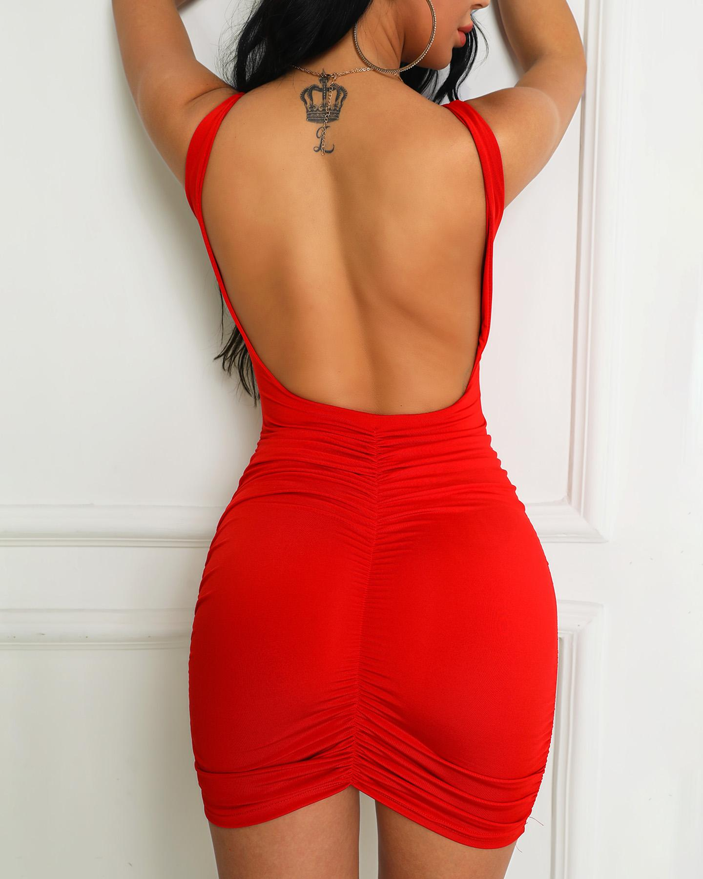 Open Back Ruched Design Bodycon Dress фото