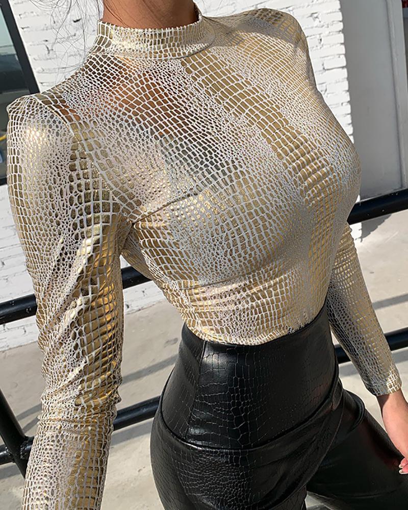 chicme / Blusa de lantejoulas de manga comprida com brilho