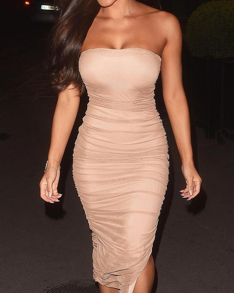 Solid Strapless Scrunched Slit Bodycon Dress фото