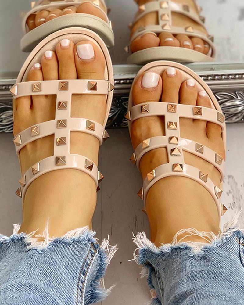 ivrose / Design de rebite cortado sandálias plana