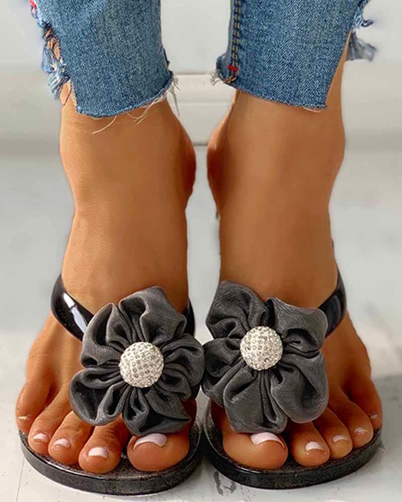 Toe Post Flower Design Flat Sandals фото