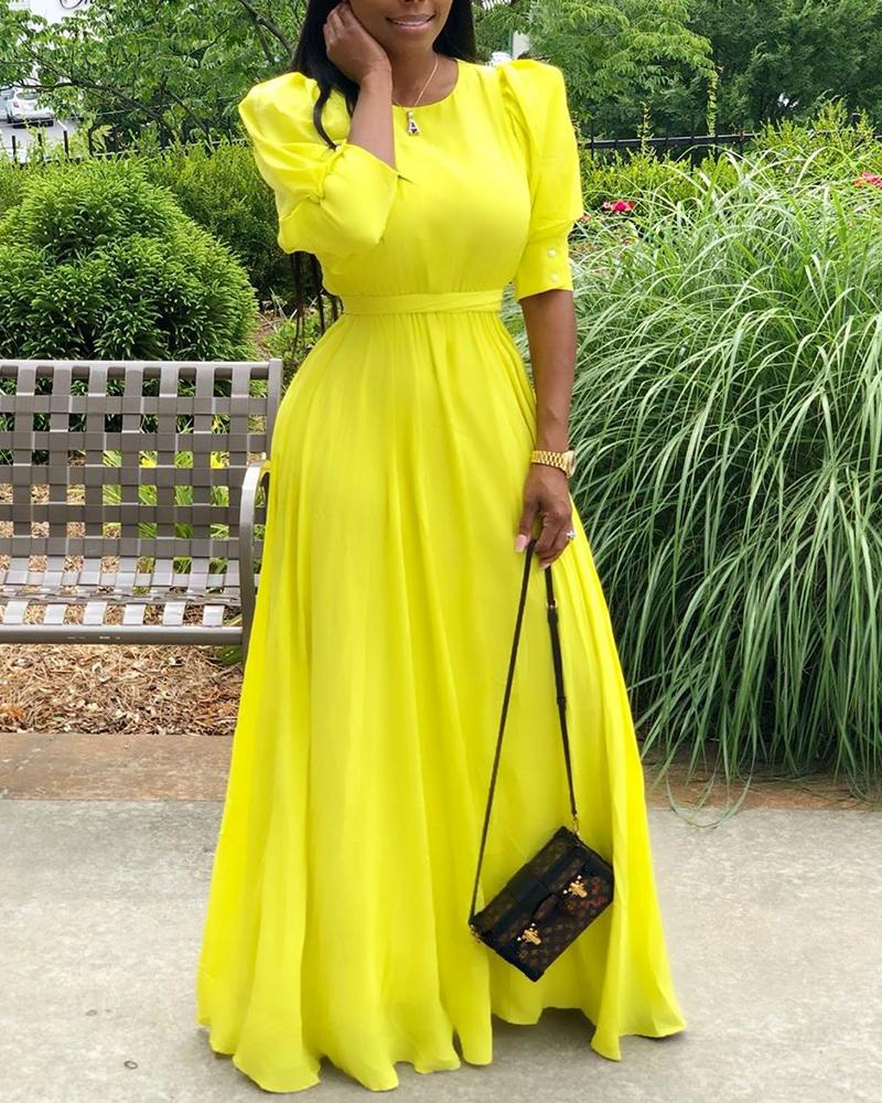Solid Lantern Sleeve Maxi Dress