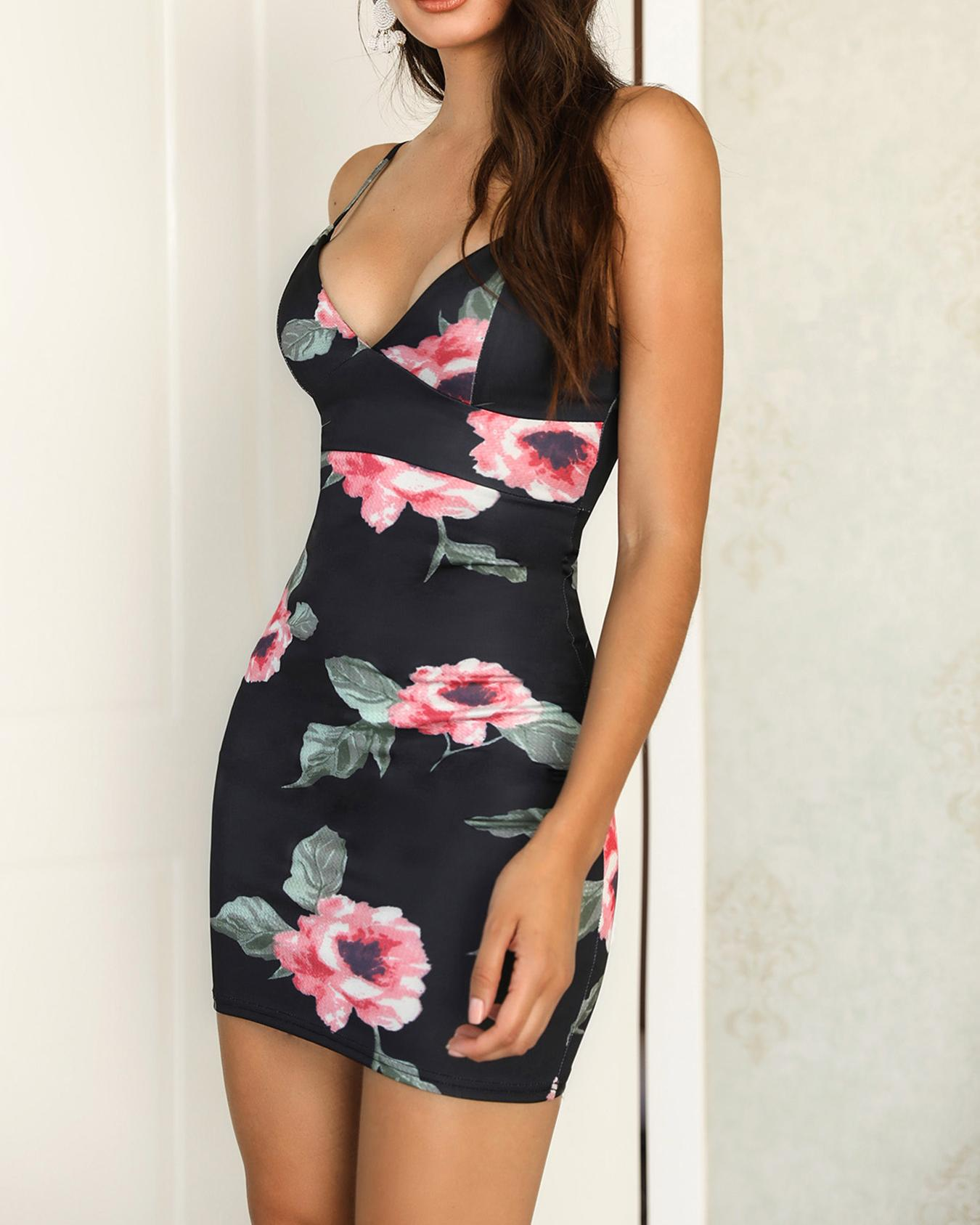 Floral Print Spaghetti Strap Bodycon Dress