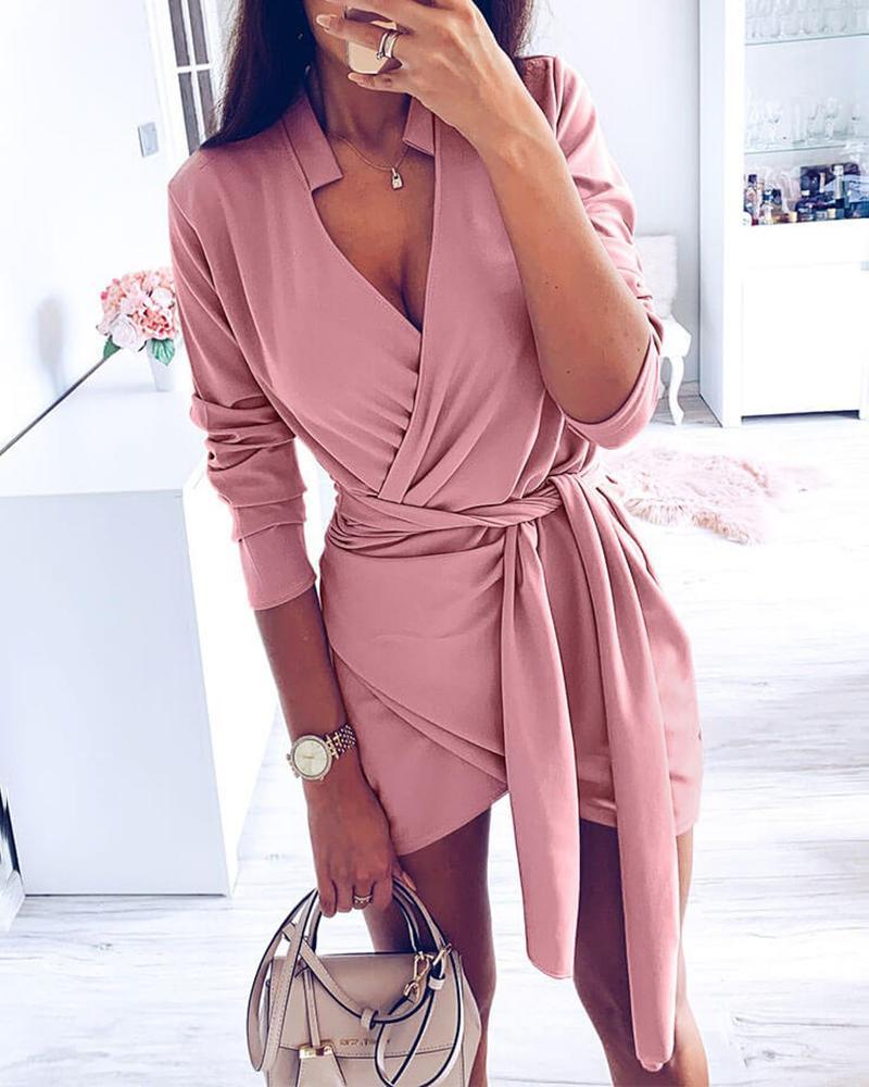 boutiquefeel / Vestido de cintura cruzada con diseño cruzado sólido