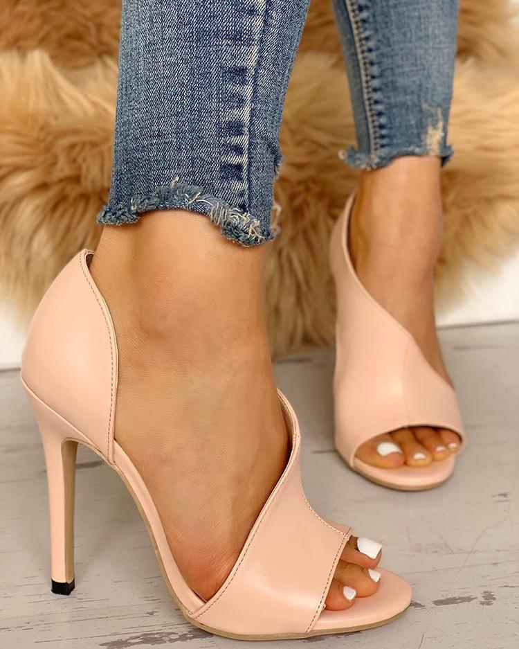 PU Cutout Peep Toe Thin Heeled Sandals, Pink