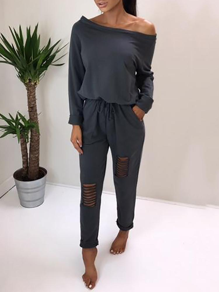 Купить со скидкой Trendy Ripped Skew Neck Tied Waist Casual Jumpsuit
