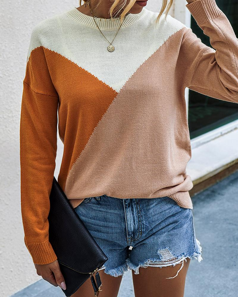 Long Sleeve Colorblock Casual Sweater фото