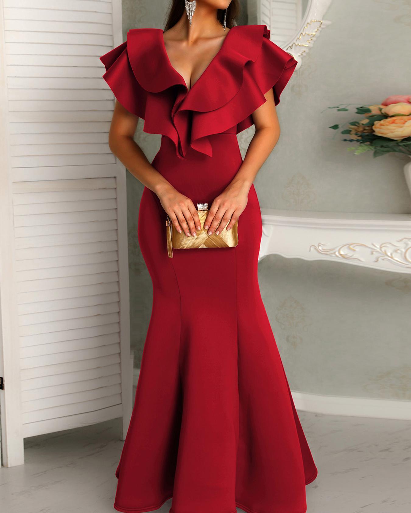 boutiquefeel / Deep V Layered Ruffles Fishtail Evening Dress