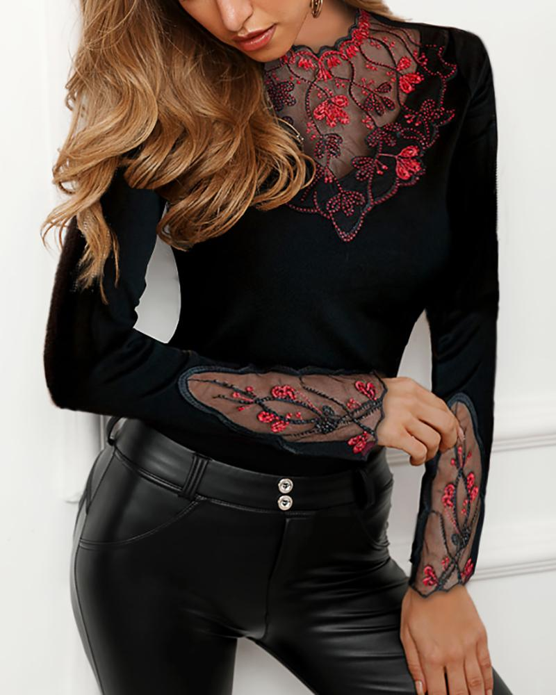 Sheer Mesh Studded Design Blouse фото