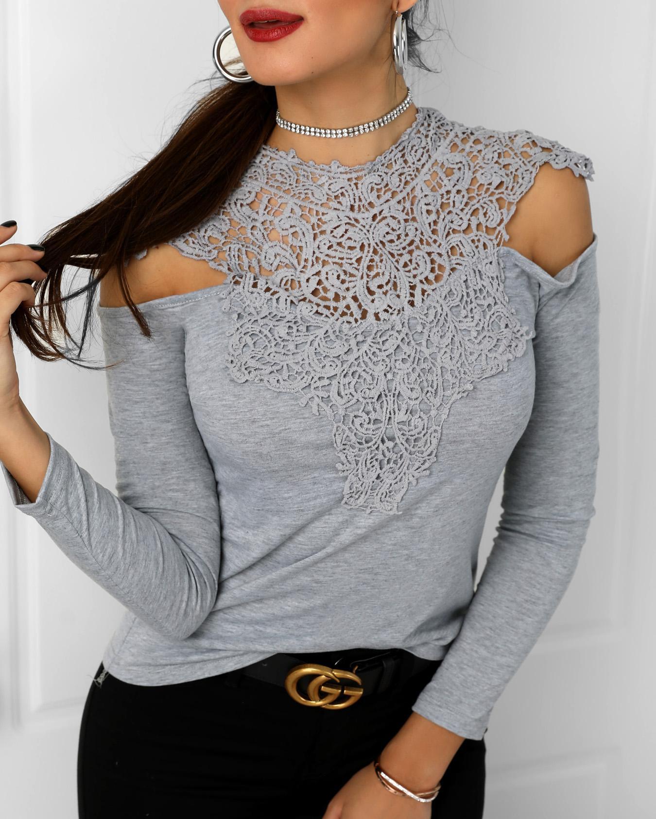 Appliqued Lace Cold Shoulder Blouse