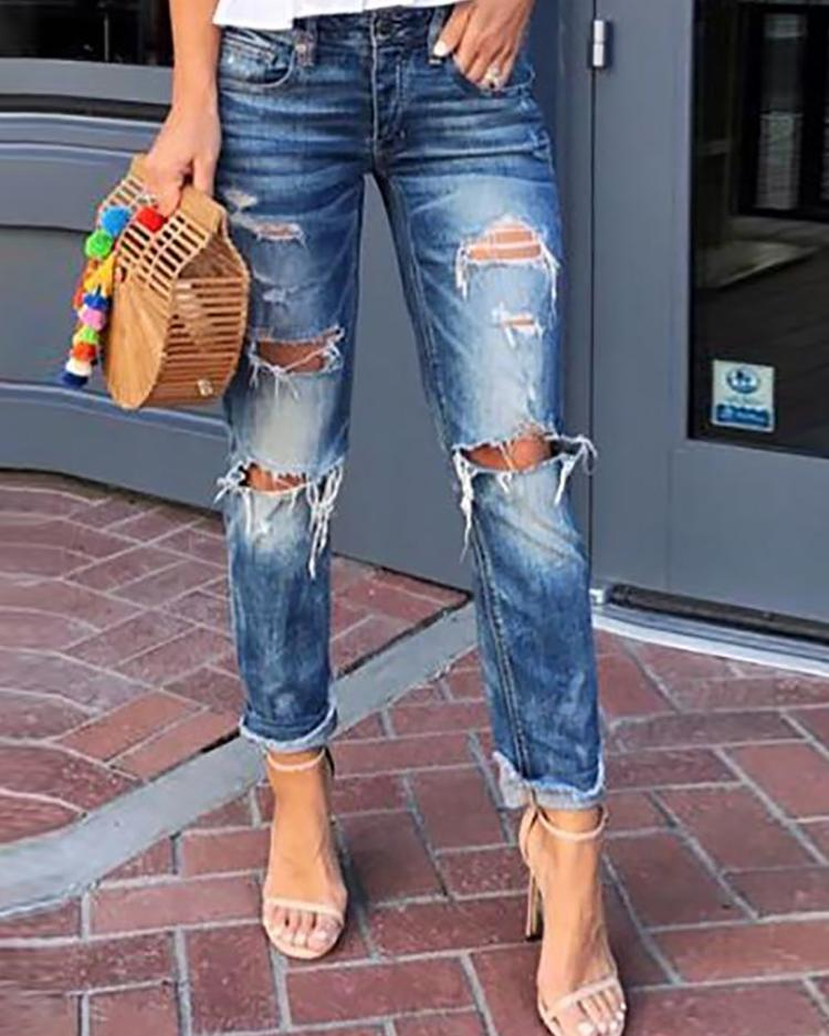 chicme / Holey Fringes Hem Distressed Jeans
