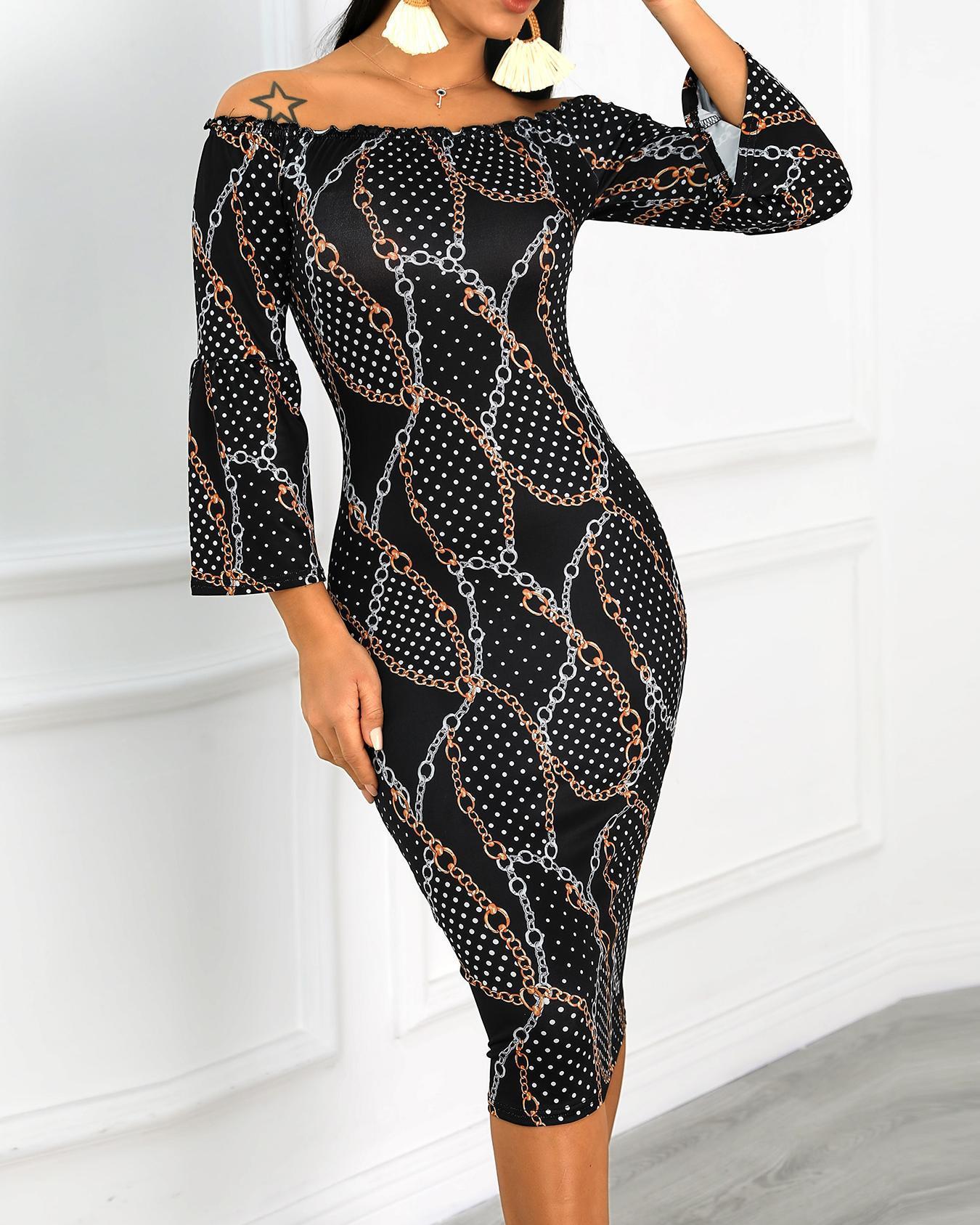 Chains Print Off Shoulder Midi Dress фото