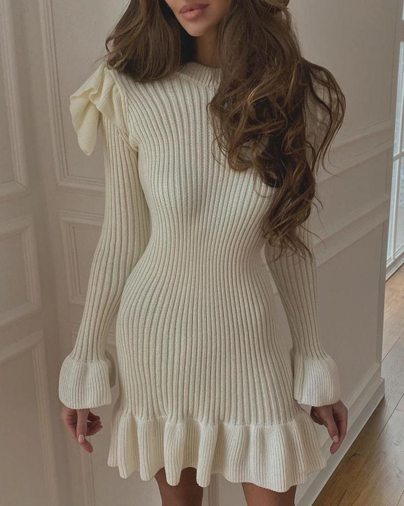 chicme / Flutter Sleeve Ruffles Plain Sweater Dress