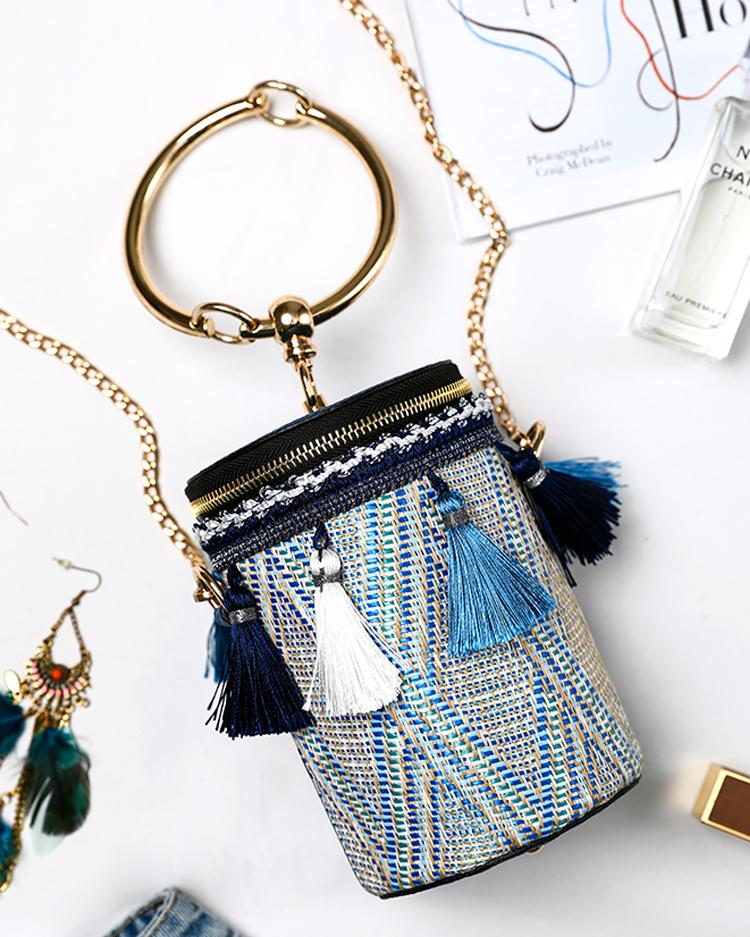 Tassel Embellished Ring Chain Bucket Handbag