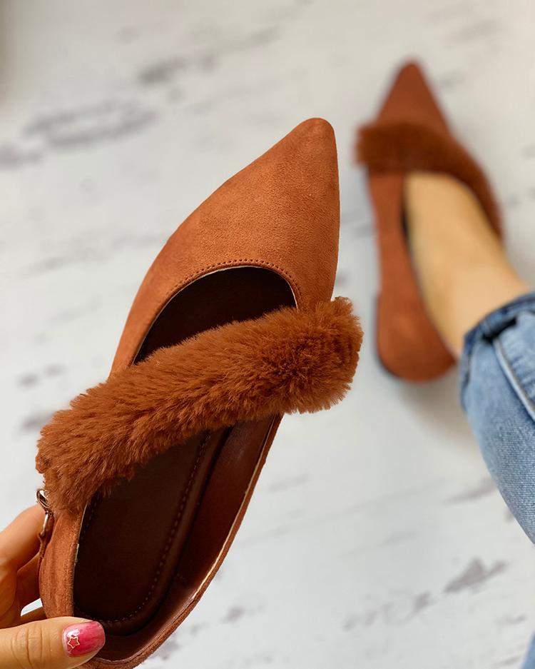 Fluffy Embellished Pointed Toe Flat Shoes