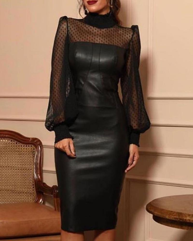 chicme / Faux Leather Mesh Dot Midi Dress