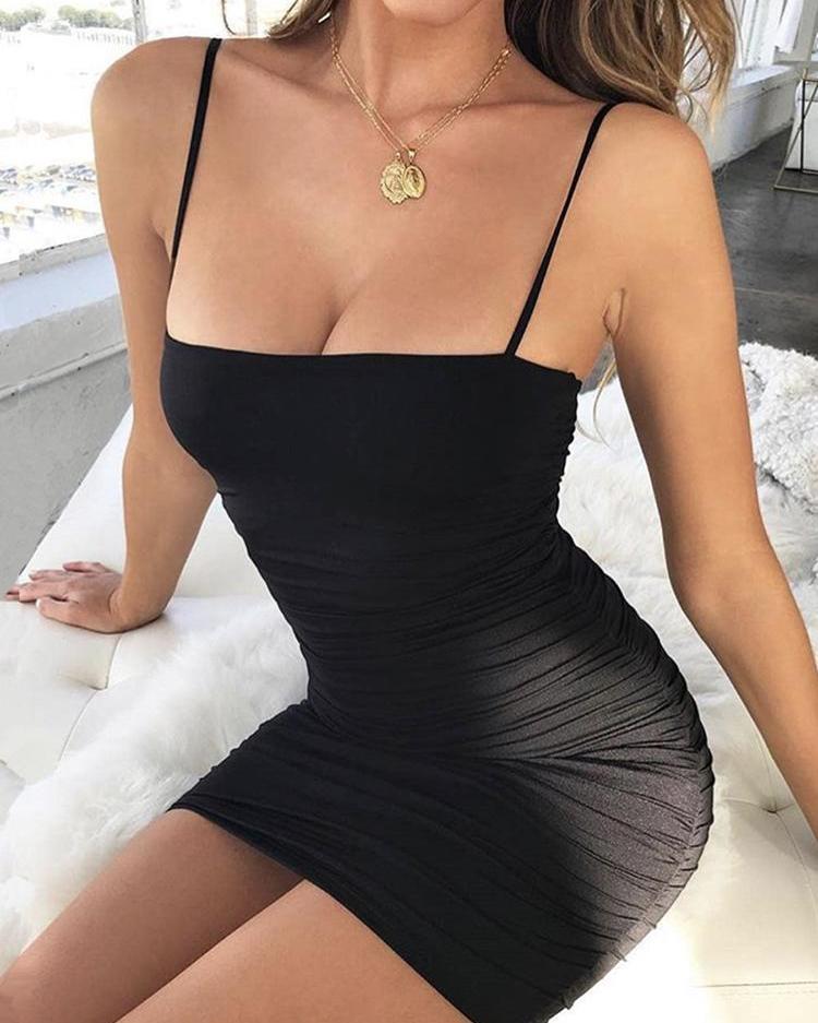Spaghetti Strap Scrunched Bodycon Mini Dress