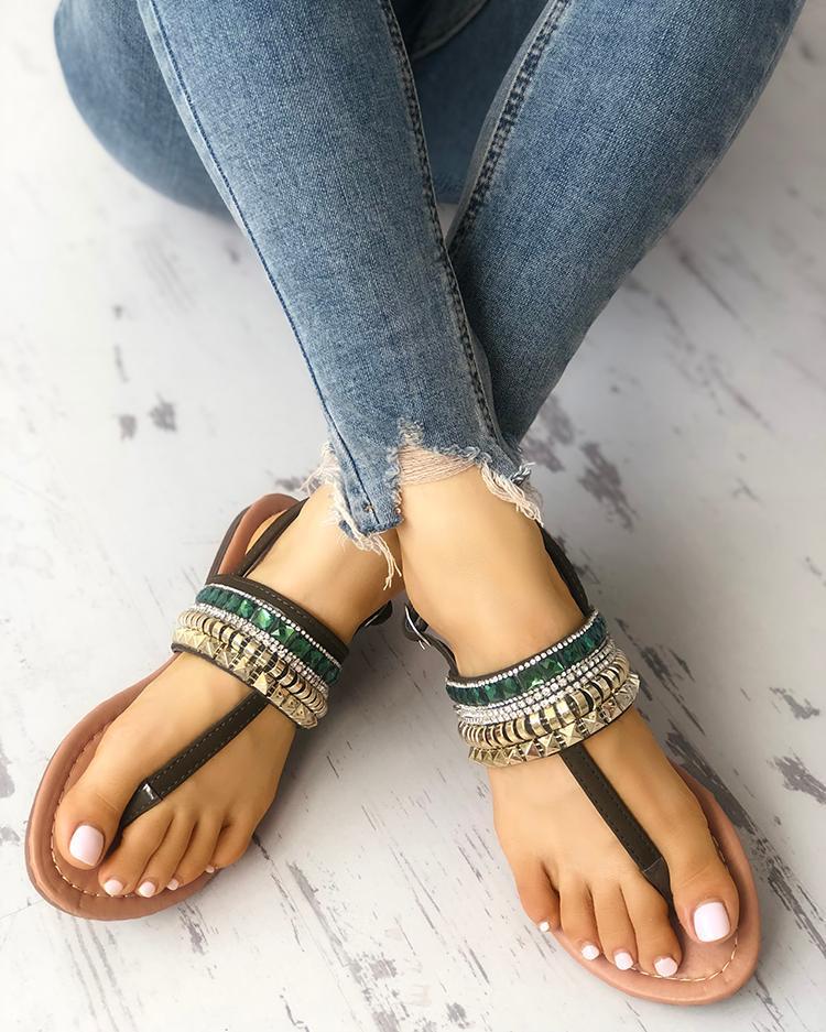 Rivet Beading Embellished Toe Post Flat Sandals