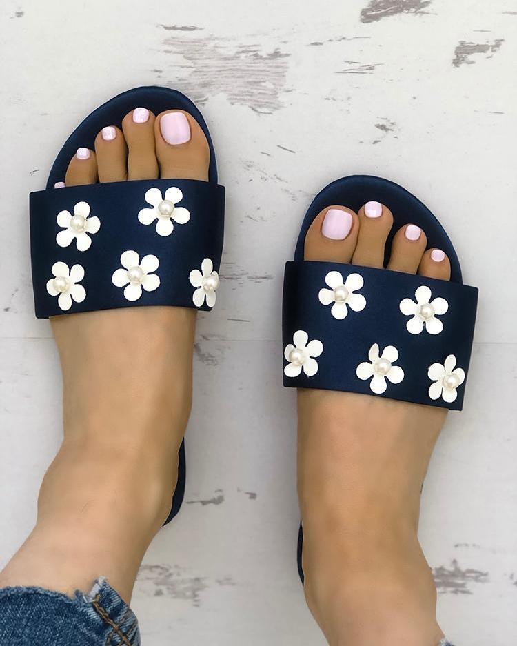 ivrose / Sandálias planas de cinta única embelezada floral
