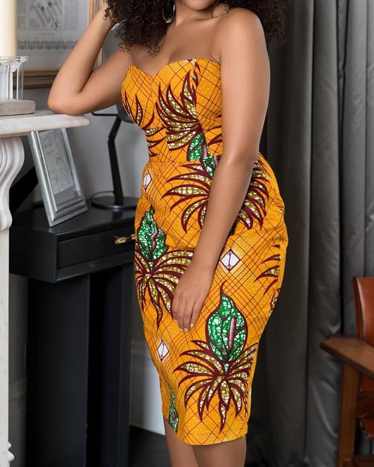 Floral Print Strapless Slit Back Bodycon Dress фото