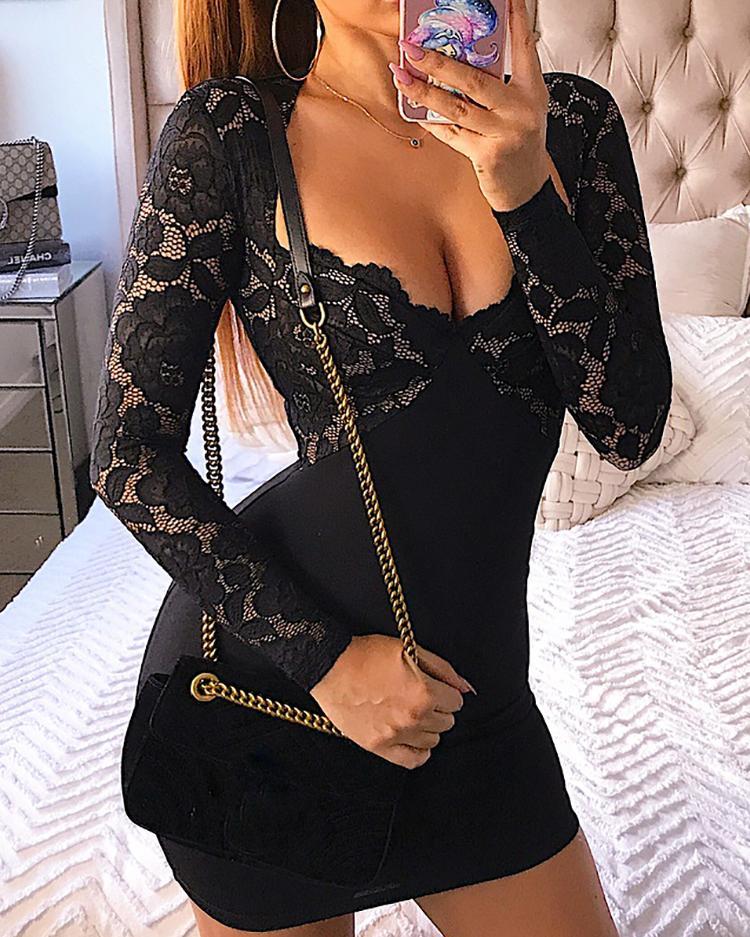Lace Bodice Low Cut Bodycon Mini Dress фото