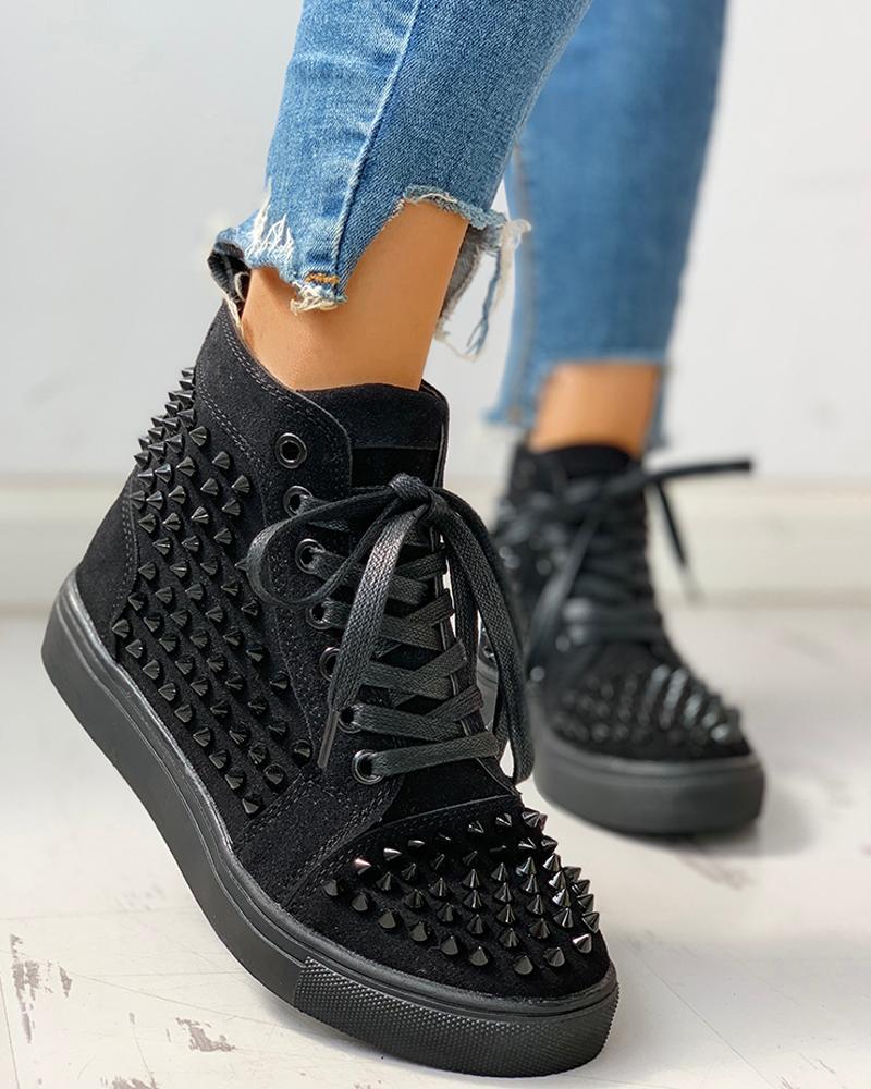 ivrose / Zapatillas casuales con cordones con ojales y tachuelas lisas