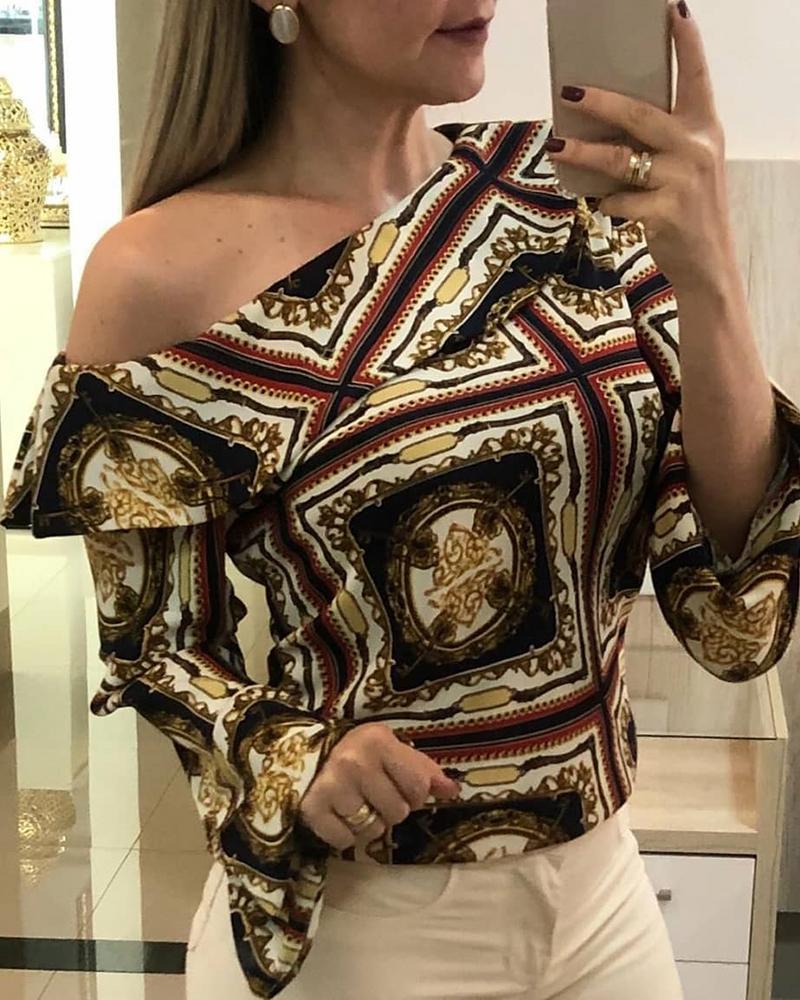 ivrose / Blusa de impressão retro Bell Sleeve Ruffles Blusa