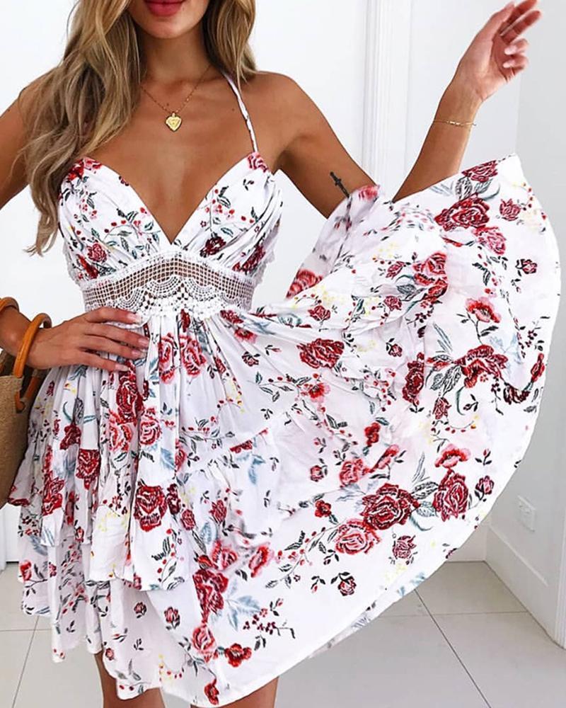 boutiquefeel / Vestido sin espalda con estampado floral de encaje de ganchillo halter