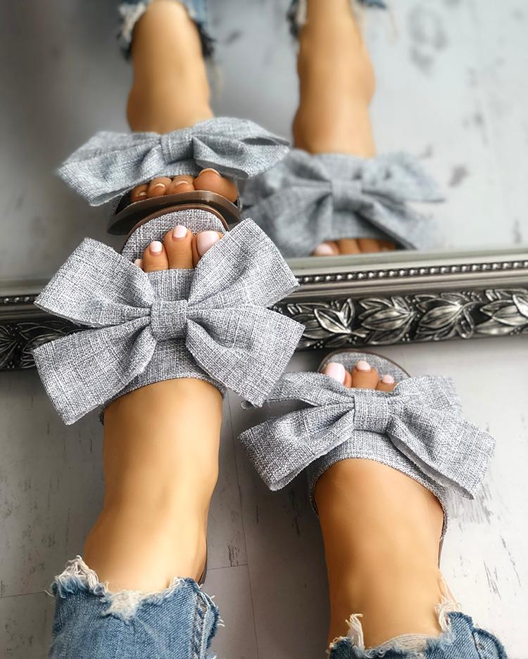 joyshoetique / Open Toe Bowknot Espadrille Casual Slippers